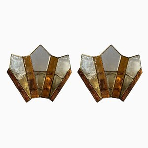 Italian Hammered Glass Wrought Iron Gold Leaf Sconces from Longobard, 1970s, Set of 2