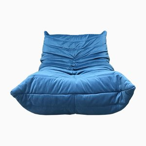 Vintage Blue Togo One-Seater Sofa by Michel Ducaroy for Ligne Roset