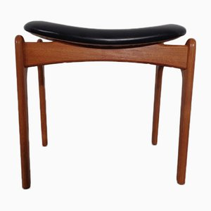 Teak & Leather Ottoman or Footstool by Erik Buch for OD Mobler, 1960s
