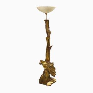 Lámpara de pie brutalista vintage, años 80