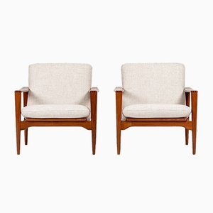 Mid-Century Danish Model EK Easy Chairs by Illum Wikkelsø for Niels Eilersen, 1960s, Set of 2