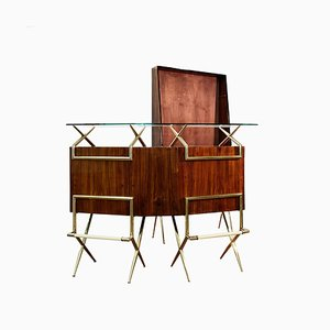 Mid-Century Italian Modern Cocktail Bar and Cabinet In the Style of Gio Ponti, 1950s, Set of 2