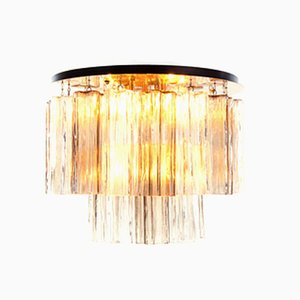 Amber Flush Mount Ceiling Lamp with Venini Tronchi Murano Glass & Brass by J. T. Kalmar for Kalmar, 1960s