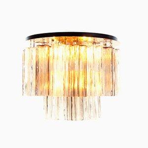 Amber Flush Mount Ceiling Lamp with Venini Tronchi Murano Glass & Brass by J. T. Kalmar for Kalmar, 1960s