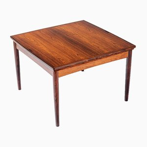 Rosewood & Leather Game or Coffee Table by Carlo Jensen for Hundevad & Co., 1960s