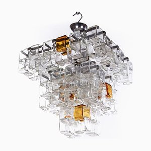Amber & Clear Murano Glass Chandelier by Flavio Poli for Poliarte, 1960s