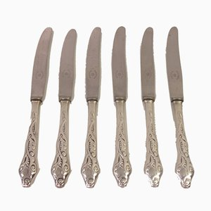 Danish Silver 3 Tower Model Tang Knives from Raadvad, 1930s, Set of 6