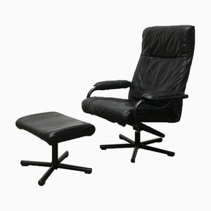 Danish Postmodern Leather Lounge Chair & Ottoman from Kebe, Set of 2