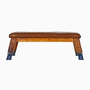 Vintage Leather Bench Gymnastic Bench, 1930s