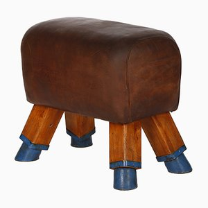 Vintage Vintage Leather Sport Bock Stool, 1930s