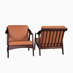 Mid-Century Danish Easy Chairs in Teak & Leather by Brockmann Petersen for Randers, Set of 2