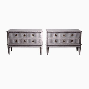 Gustavian Chest of Drawers with Richly Carved Drawers, 1790s, Set of 2