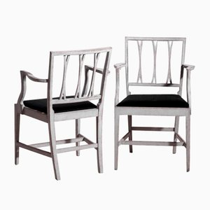 Antique Swedish Horsehair Upholstery Dining & Armchairs, Set of 12