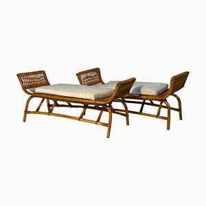 Mid-Century Italian Rattan and Bamboo Benches, 1950s, Set of 2