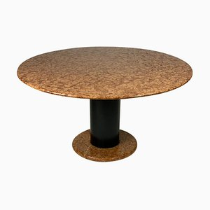 Mid-Century Italian Loto Rosso Round Marble Side Table by Ettore Sottsass for Poltronova, 1960s