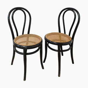 Late-19th Century Bistro Caned Dining Chairs in the Style of Thonet, Set of 2