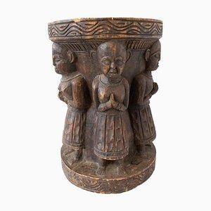 Antiker Asiatischer Hocker mit Vier Buchstaben