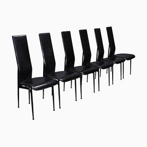 Chaises de Salon en Cuir Noir par Giancarlo Vegni & Gualtierotti pour Fasem, Italie, 1980s, Set de 6