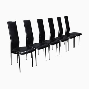 Dining Chairs in Black Leather by Giancarlo Vegni & Gualtierotti for Fasem, Italy, 1980s, Set of 6