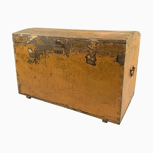19th Century Wooden Chest or Floor Trunk in Original Paint