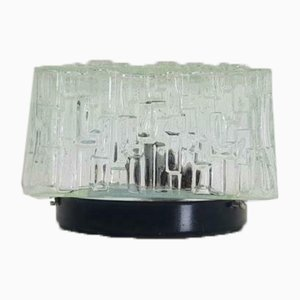 Vintage Ice Glass Ceiling or Wall Lamp, 1960s