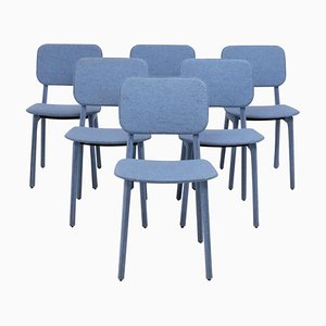 Blue Felt Chairs by Delo Lindo for Ligne Roset, 2012, Set of 6