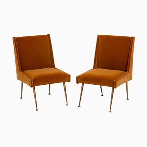 Italienische Senffarbene Mid-Century Stühle mit Samtbezug, 1950er, 2er Set