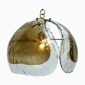 Lampada a sospensione in vetro ambrato e ottone di JT Kalmar, anni '70