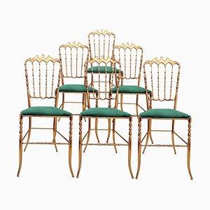 Italian Brass & Emerald Green Velvet Chair by Chiavari, 1960s
