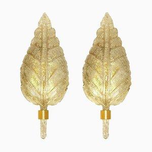 Große Wandleuchten aus goldenem Muranoglas von Barovier & Toso, Italien, 1960er, 2er Set