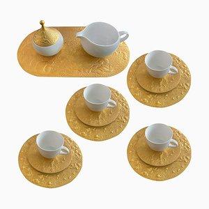 Servizio da dessert da caffè placcato in 24 carati di Bjorn Wiinblad per Rosenthal, anni '70, set di 21