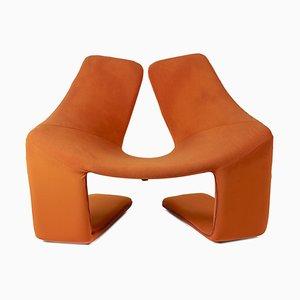 Zen Armlehnstuhl aus Schaumstoff und Orangenfarbenem Stoff von Kwok Hoï Chan, 1960er