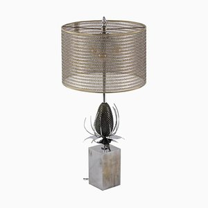 Thistle Table Lamp in Bronze and Brass by Maison Charles, 1970s