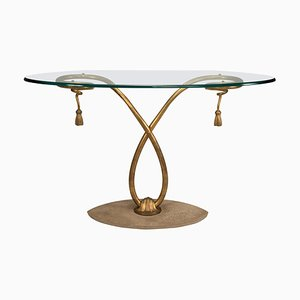 Golden Iron Structure and Oval Glass Top Console Table, 1950s
