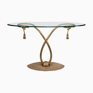 Table Console en Fer Doré et Plateau Oval en Verre, 1950s