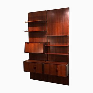 Vintage Italian Black Detail & Rosewood Equipped Wood Wall Bookcase, 1980s