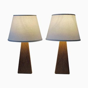Nordic Brown Leatherette Table Lamps, 1950s, Set of 2