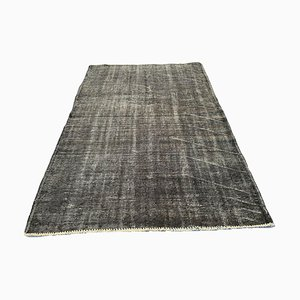 Vintage Turkish Distressed Overdyed Grey Wool Rug