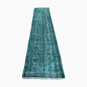 Turkish Distressed Overdyed Turquoise Wool Narrow Runner Rug