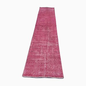 Turkish Distressed Overdyed Pink Wool Narrow Runner Rug