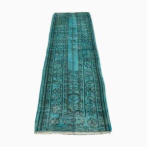 Turkish Distressed Overdyed Turquoise Wool Narrow Runner Rug