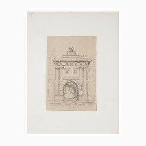 Roman Gate Pencil on Paper by Werner Epstein, 1923