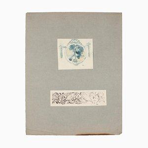 Landschaft und Fisch Bleistift, Aquarell und Stift auf Papier, 1920er