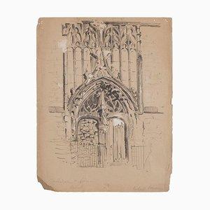 Braunbraunes Portal der Kathedrale Mischpultpapier