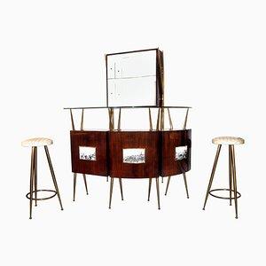 Mobile bar vintage di Gio Ponti & Piero Fornasetti, Italia, anni '50, set di 4