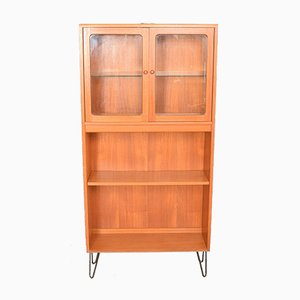 Glazed Teak Bookcase with Hairpin Legs from G-Plan, 1960s