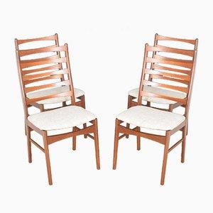 Danish Teak Ladder Back High Back Dining Chairs, 1960s, Set of 4