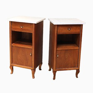 Antique French Walnut Bedside Cabinets, Set of 2