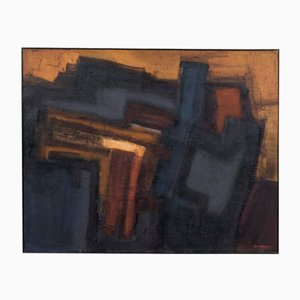 Abstract Composition Oil on Canvas by Georges Sempels, 1961