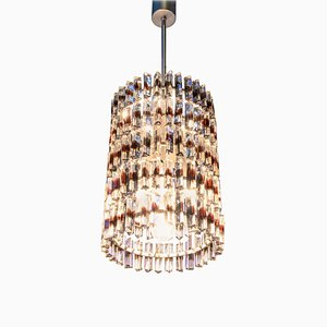5-Tier Triedi Chandelier with Amber Murano Glass Prisms, 1960s